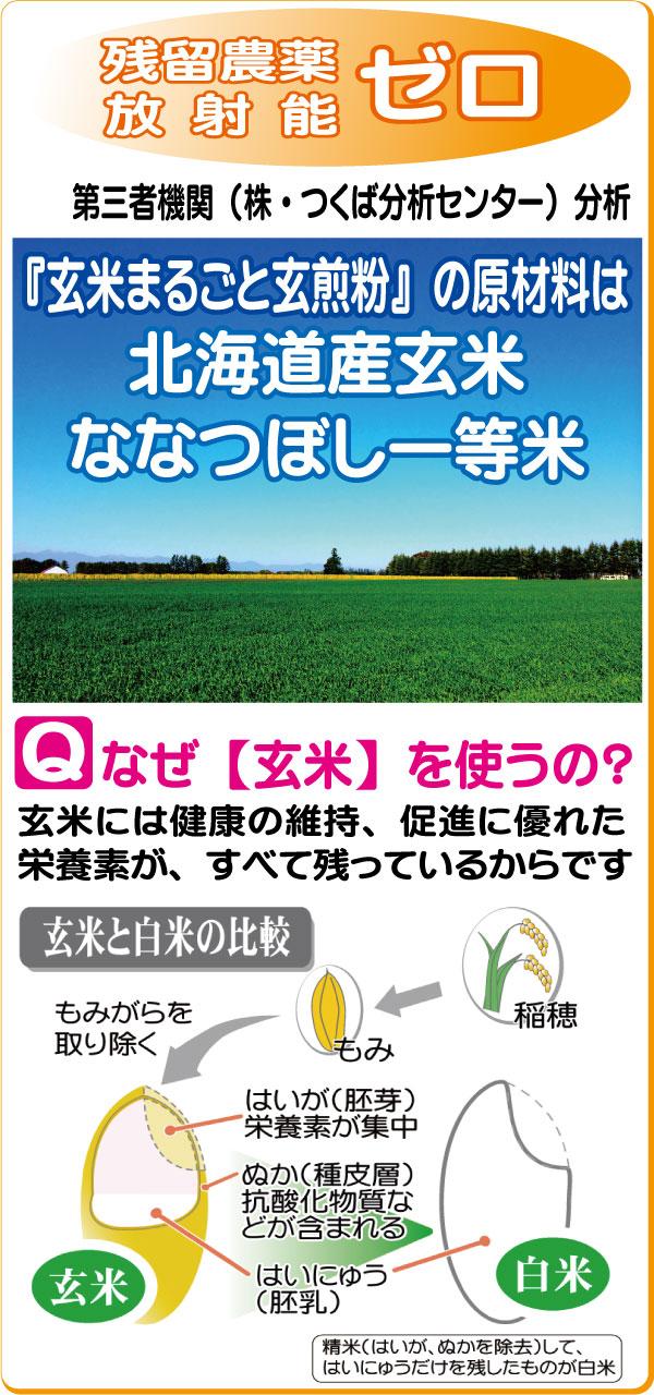 無農薬、残留農薬ゼロ、放射能不検出の北海道産玄米を焙煎した、玄米粉。